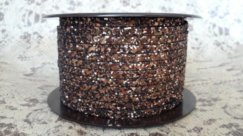 lanière cuir plat paillettes marron 5 mm de grande qualité européenne vendue par mètre
