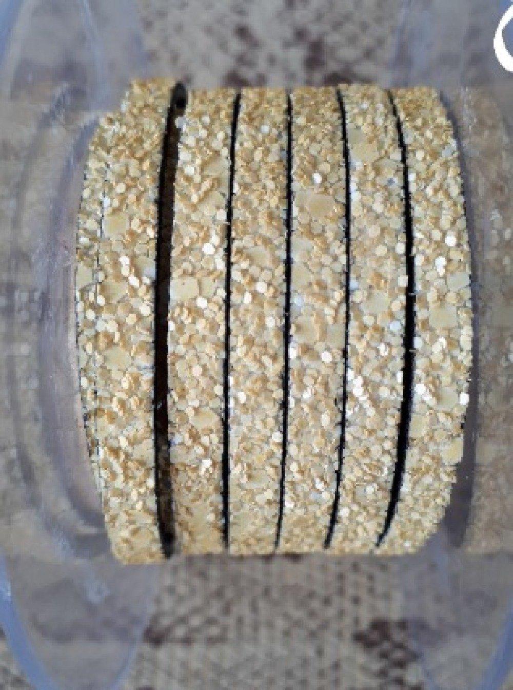 lanière cuir plat paillettes sable 5 mm de grande qualité européenne vendue par 50 cm