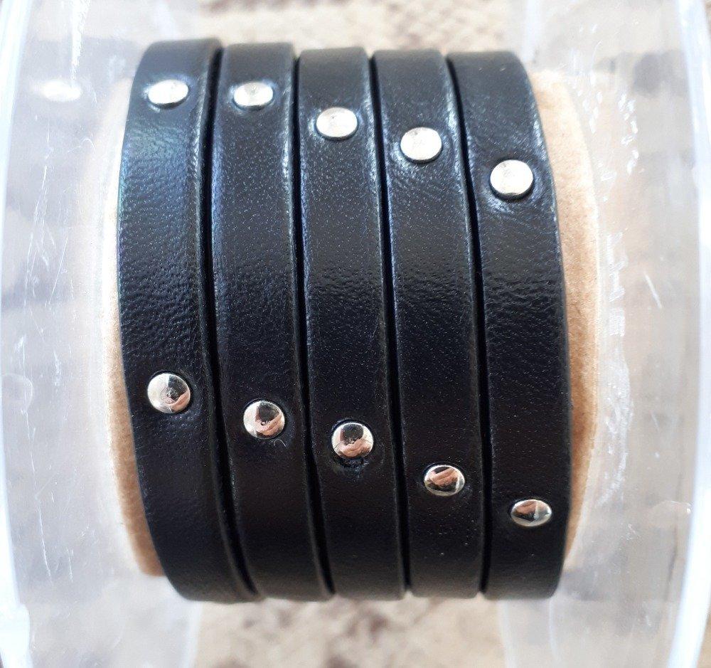 lanière cuir plat 6 mm clouté noir de grande qualité européenne vendue par 50 centimètres