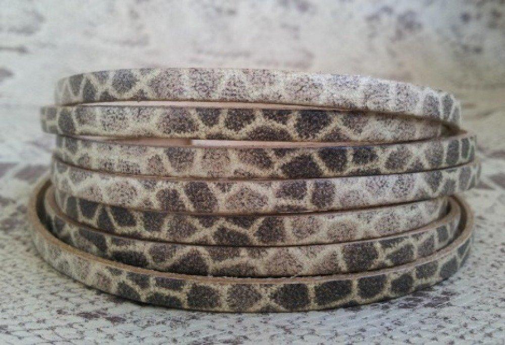 lanière cuir plat 5 mm imprimé girafe de grande qualité européenne vendue au centimètre