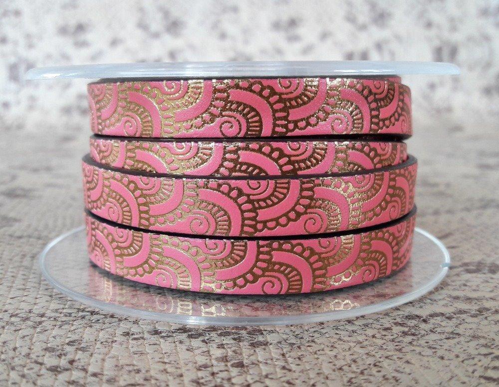 lanière cuir plat 10 mm imprimé ornement rose/bronze de grande qualité européenne vendue au mètre