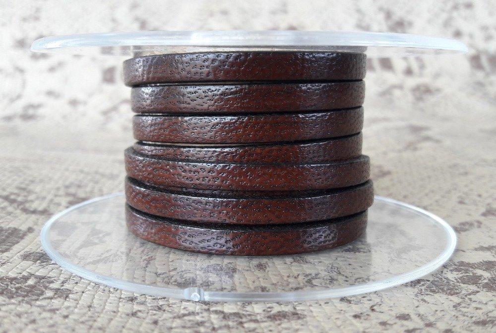 lanière cuir plat 5 mm marron effet serpent de grande qualité européenne vendue par 50 cm