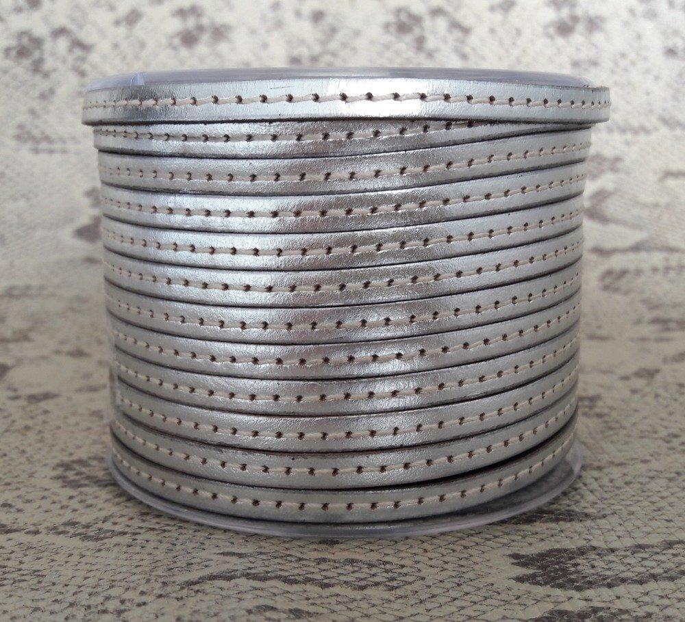 lanière cuir plat 5 mm coutures argent de grande qualité européenne vendu par mètre
