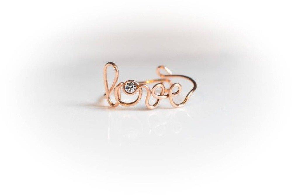 """Bague fine réglable """"Love"""" en or rose avec strass en cristal Swarovski message mariage fiancailles personnalisable amour inscription"""