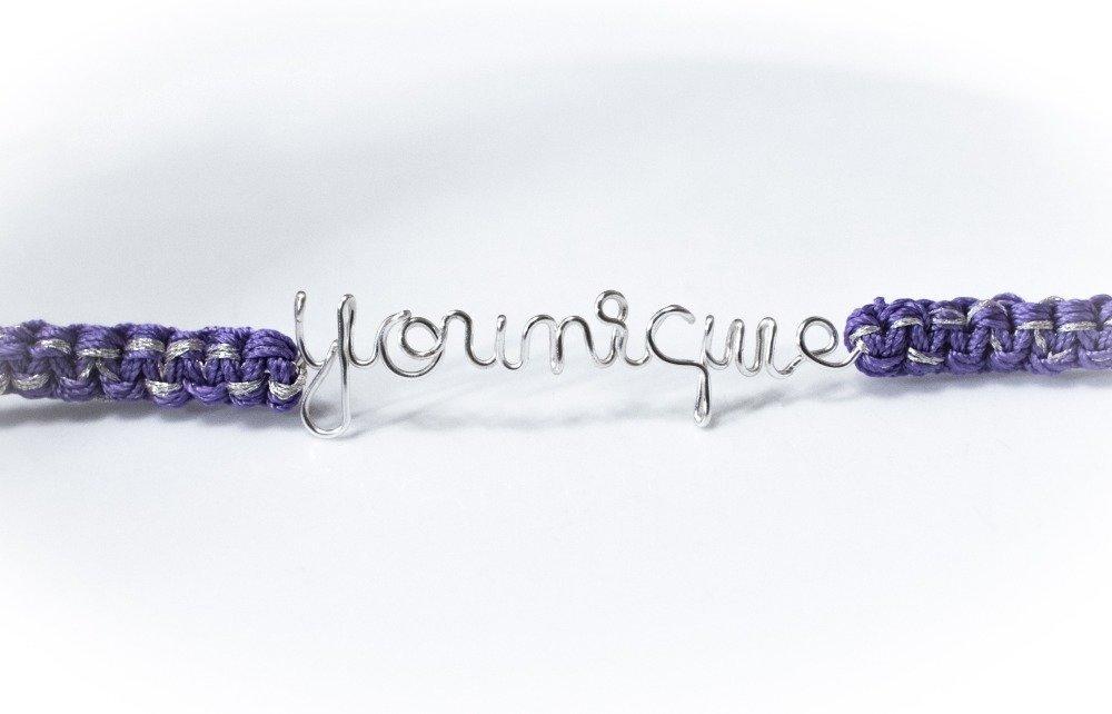 """Bracelet jonc """"Younique"""" message texte personnalisable, en cuivre argenté et fils tressés"""
