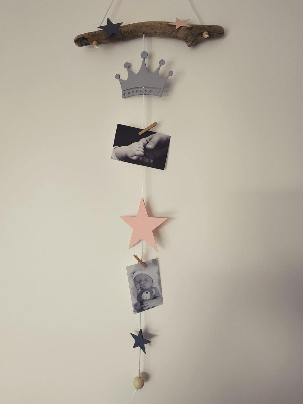 Bois Flotté Porte Photo pêle mêle, mobile porte photos bois flotté idée cadeau liste naissance  chambre enfant baby shower princesse couronne etoile