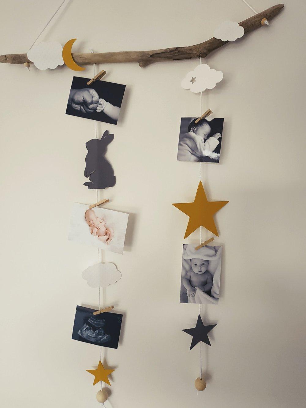 Bois Flotté Porte Photo pêle mêle, mobile porte photos bois flotté idée cadeau liste naissance  chambre bébé baby shower chouette lapin lune étoile