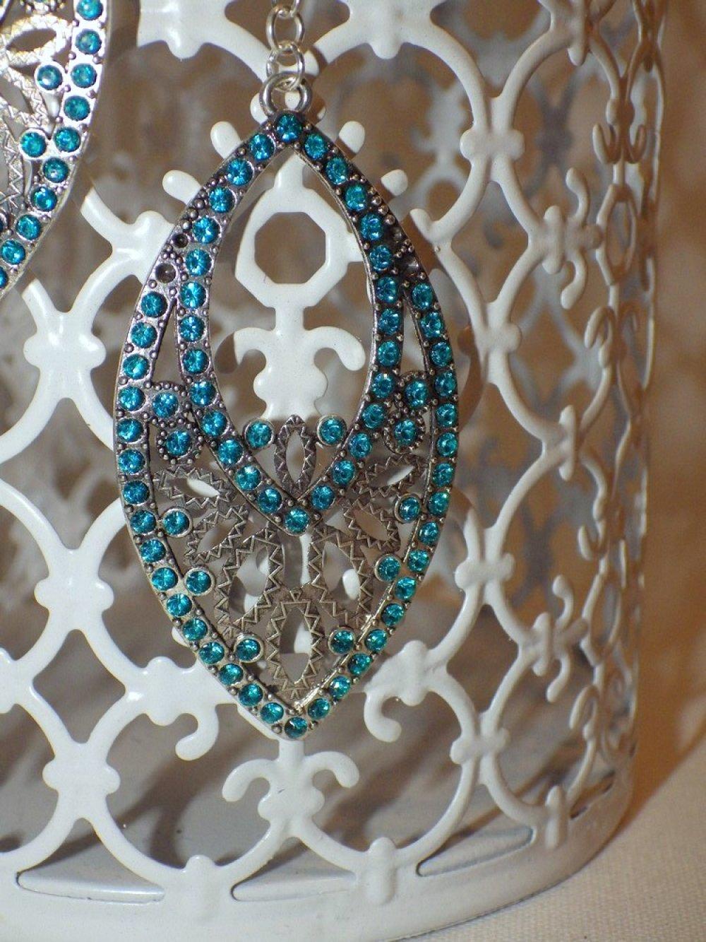 Boucles d'oreilles grandes navettes à strass, turquoise