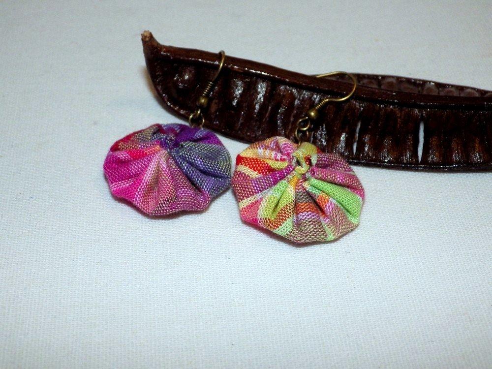 Boucles d'oreilles madras, rose