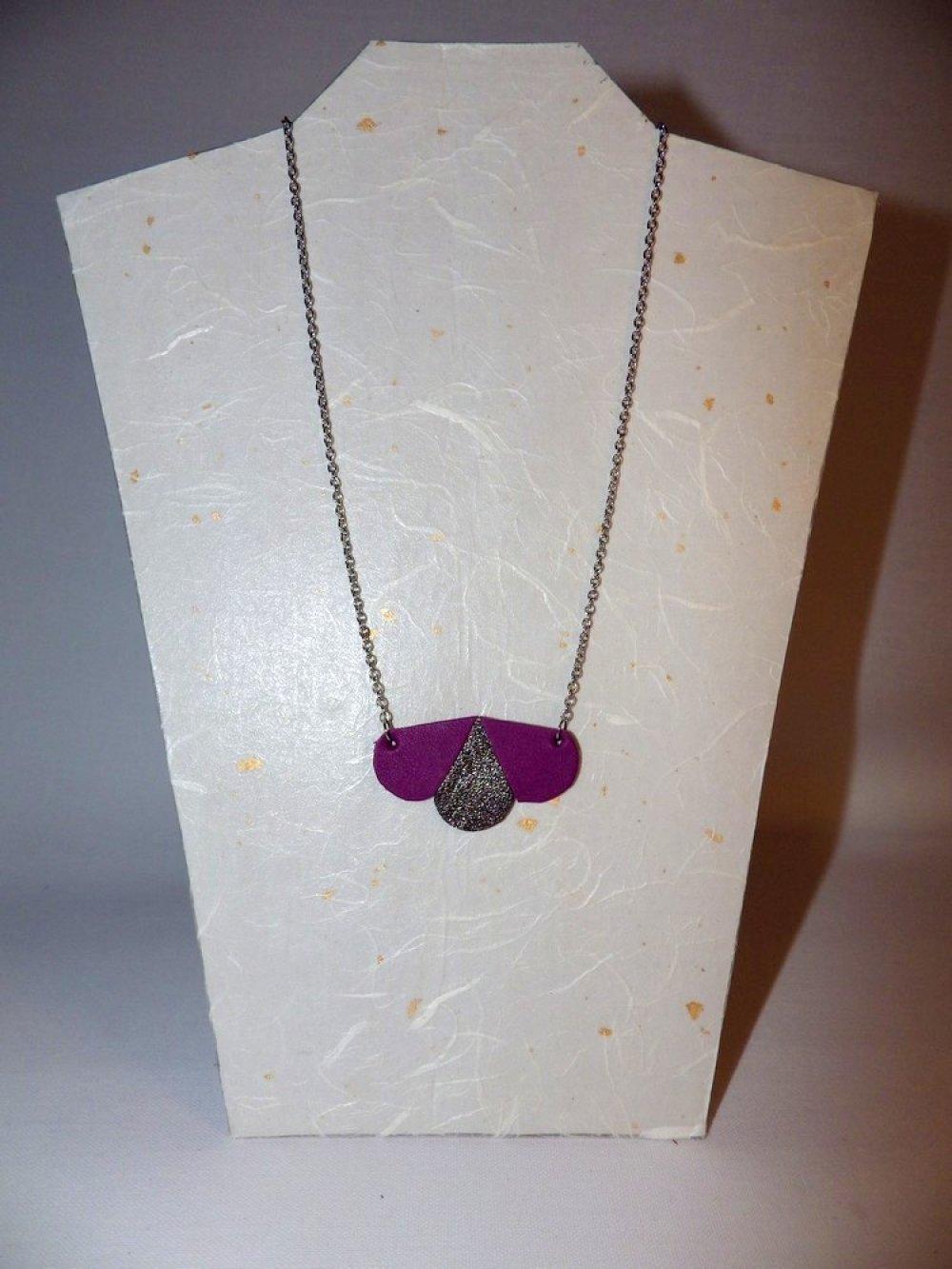 Cuir géométrique arrondi, acier inox, violet mordoré