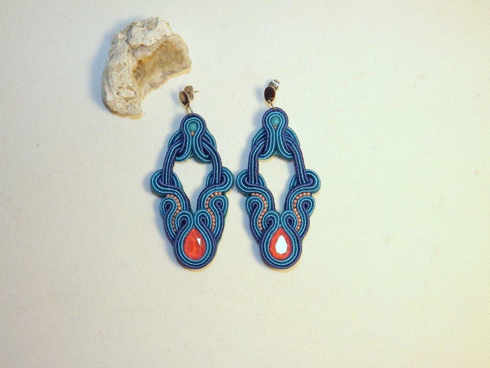 Boucles d'oreilles cristal Swarovski et soutache