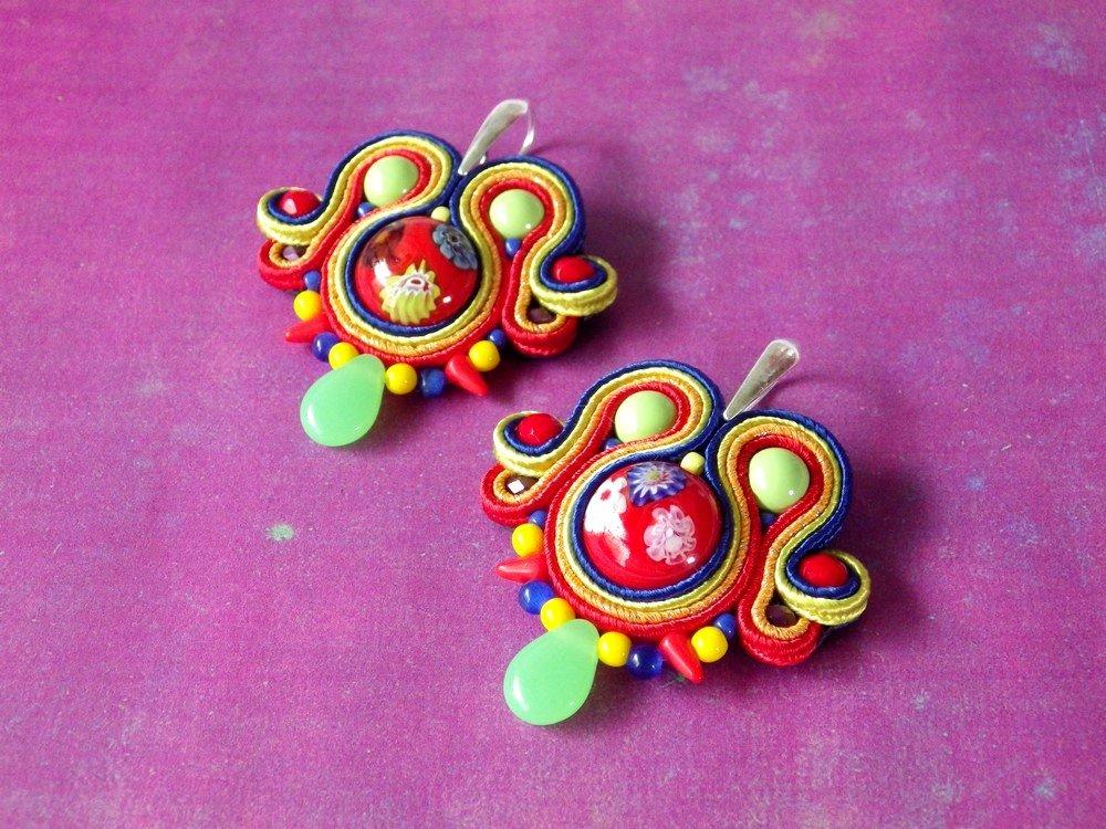 Boucles d'oreilles millefiori et soutache