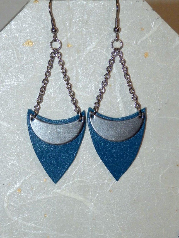 Parure cuir et inox, bleu