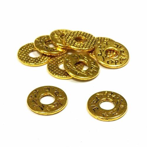 20 perles anneaux antiques, métal doré 11mm