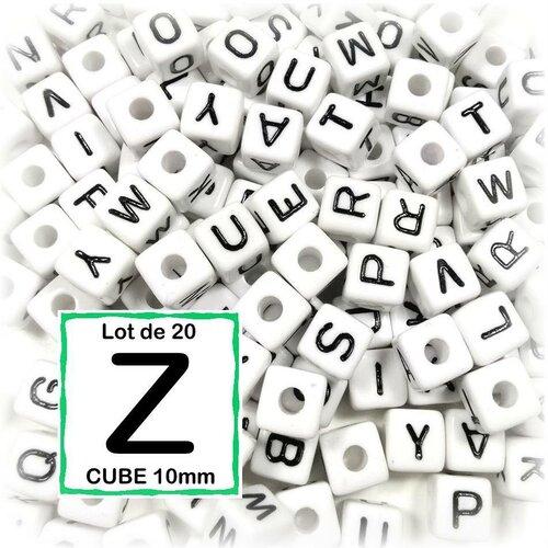 20 perles z alphabet 10 mm - perles lettres cube 10mm