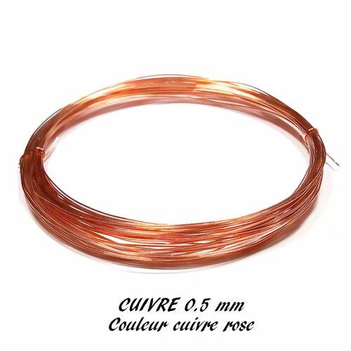 Fil de cuivre 0.5mm cuivre rose (10 mètres)