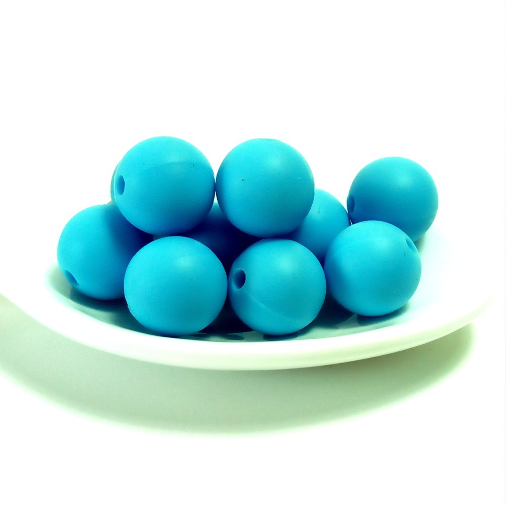 10 perles en silicone 12 mm turquoise