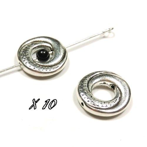 10 perles cadre spirale argent vieilli 15mm