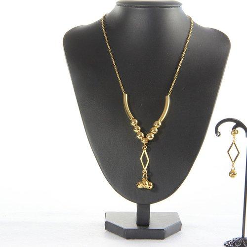 Collier et boucle d'oreille perle et losange