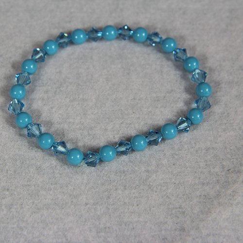 Bracelet bleu perle swarovski extensible