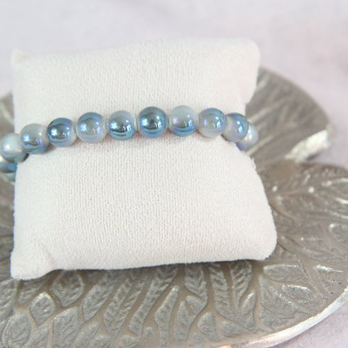 Bracelet perle bleu brillante
