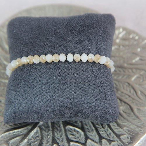 Bracelet perle blanc dorée brillant
