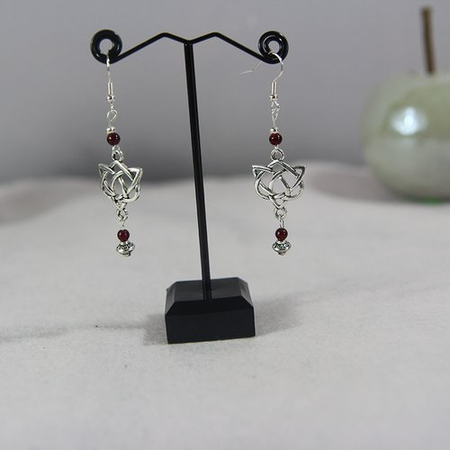 Boucle d'oreille argenté connecteur et perle swarovski