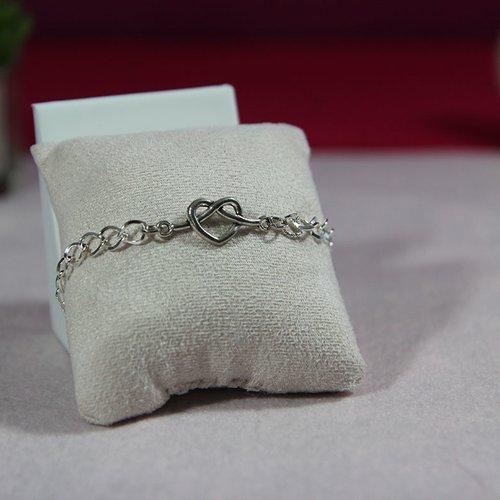 Bracelet argenté connecteur coeur