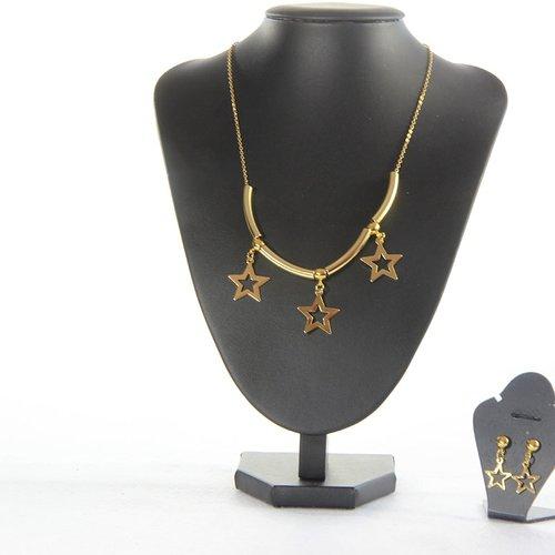 Collier et boucle d'oreille doré 304 acier inoxydable pendentif étoile