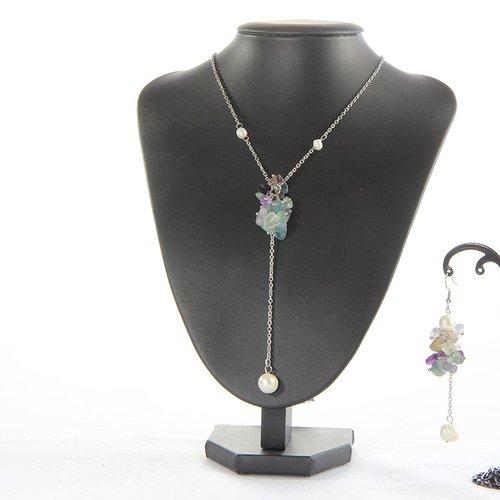 Collier et boucle d'oreille en fluorite et perle naturelle