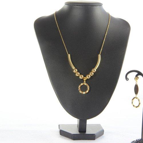 Collier et boucle d'oreille dorés, cercle et perle