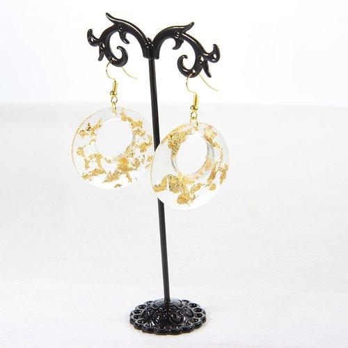 Boucle d'oreille dorée pendentif en résine feuille d'or