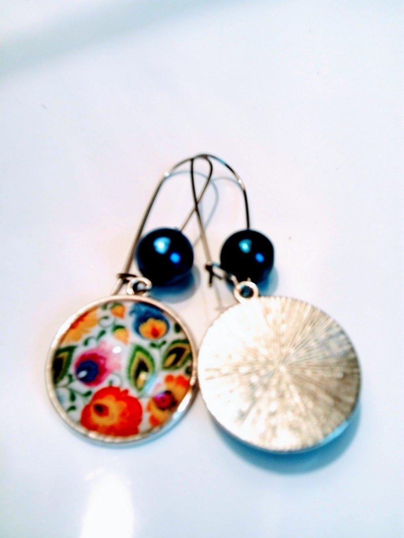Boucle d'oreille ethnique pendante folk couleur argent  boho hippie coloré