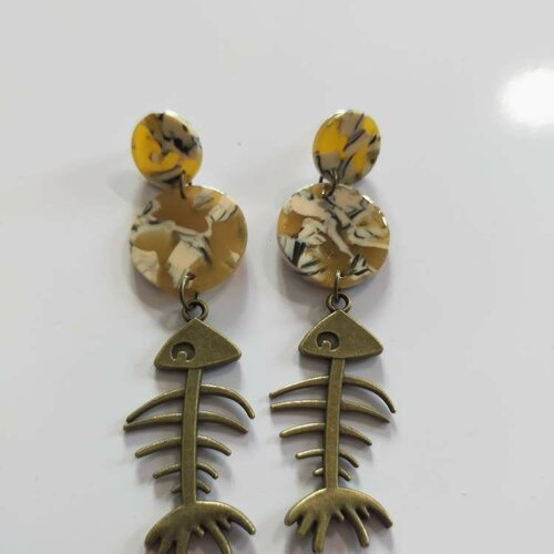 Boucles d'oreilles, pendante, écailles de tortue, multicolore, cadeau, ethnique, noël, fête des mères, originale, coloré, jaune,puce, unique