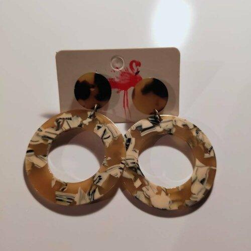 Boucles d'oreilles, pendante, écailles de tortue, multicolore, cadeau, ethnique, noël, fête des mères, originale, coloré, noir, blanc,unique