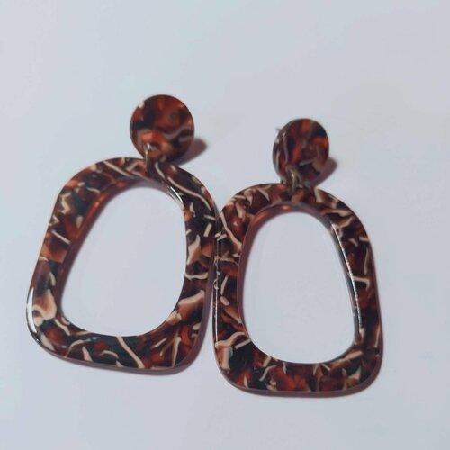 Boucles d'oreilles, pendante, écailles de tortue, multicolore, cadeau, ethnique, noël, fête des mères, originale, coloré,verte,puce, unique