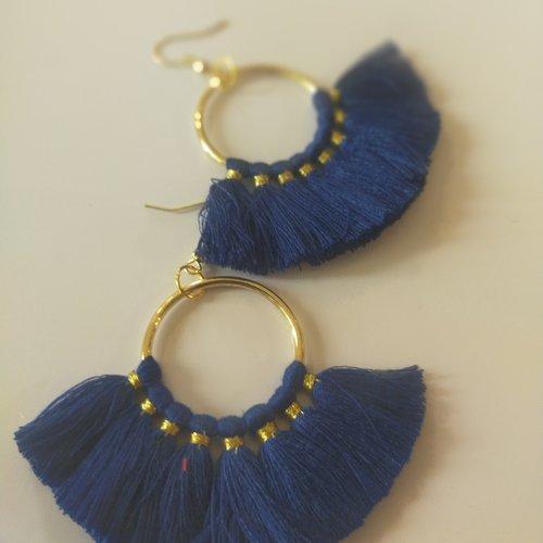 Boucles d'oreilles, bleu, marine, pendante, ethnique, vintage, pompon,or, coloré, cadeau, noël, fête des mères,