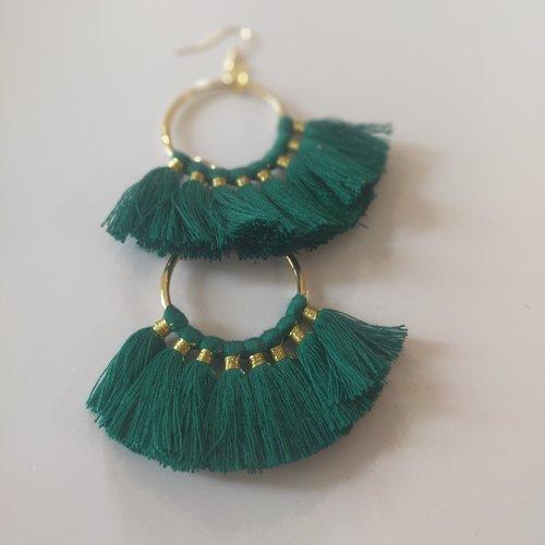 Boucles d'oreilles, vert, pendante, ethnique, vintage, pompon,or, coloré, cadeau, noël, fête des mères,