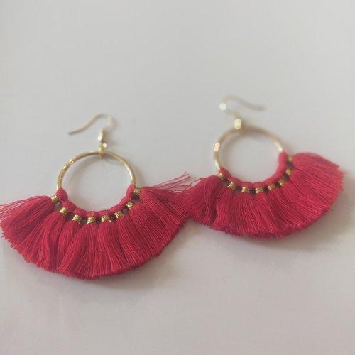 Boucles d'oreilles, rouge, pendante, ethnique, vintage, pompon,or, coloré, cadeau, noël, fête des mères,