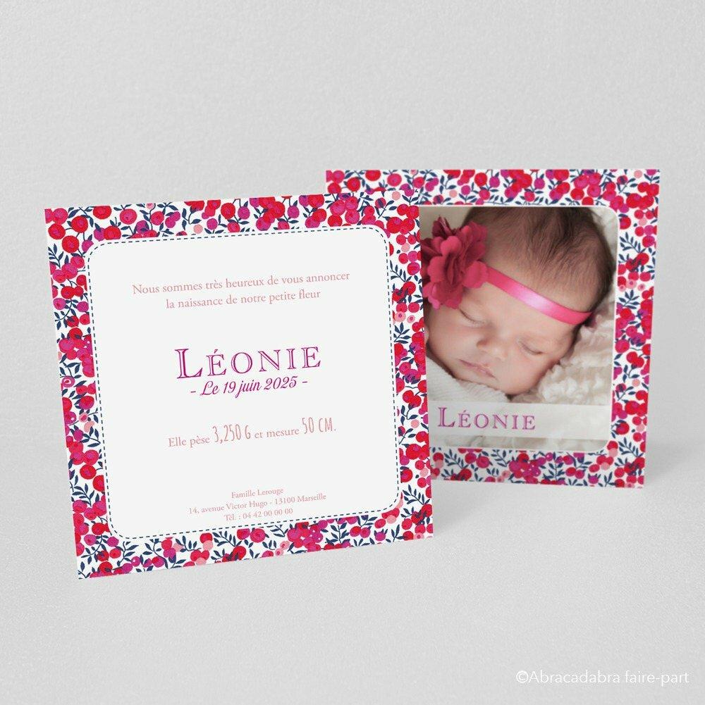 Faire-part fille, Liberty Wiltshire Rouge - Modèle Léonie, 2 pages