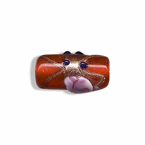 Perle tube en verre artisanat inde,rouge,18x9 mm,vendu par 2