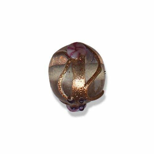 Perle verre au chalumeau artisanat inde,ronde,havane 15 mm,lot de 2 perles