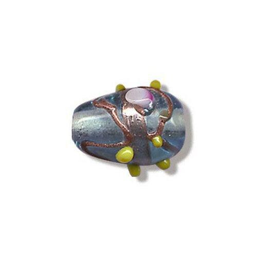 Perle goutte en verre au chalumeau artisanat inde,glacier,15x11 mm,lot de 2 pcs