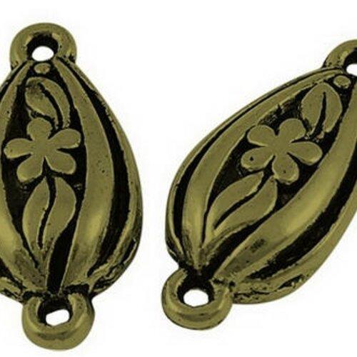 Breloques  3 d ouvragée fleur connecteur métal bronze 2,4 cm,lot de 10