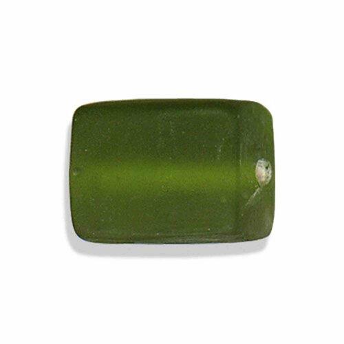 Perle en verre au chalumeau artisanat inde,pomme verte mat, rectangle 19 sur 14 mm