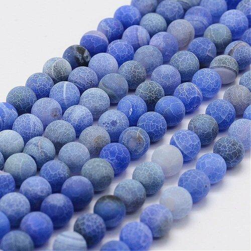 Perle agate blue dépolie,rond,8 mm,lot de 10 perles