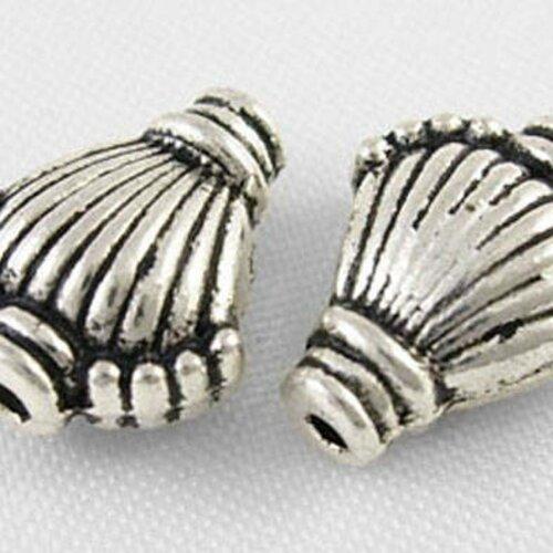 Perle intercalaire,métal argent antique,11 mm,lot de 20 pcs