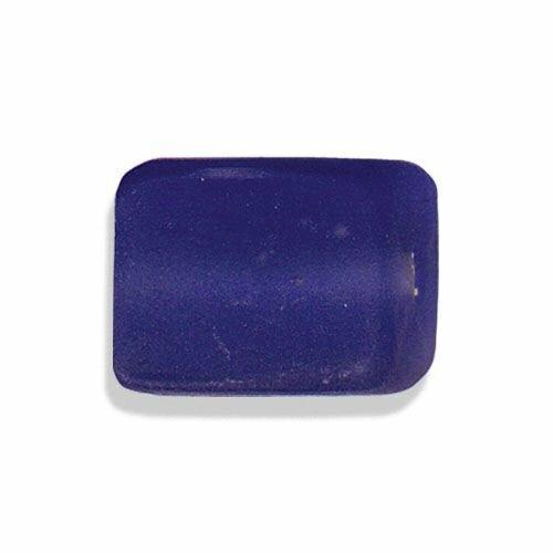 Perle en verre au chalumeau artisanat inde,bleuet mat, rectangle 19 sur 14 mm
