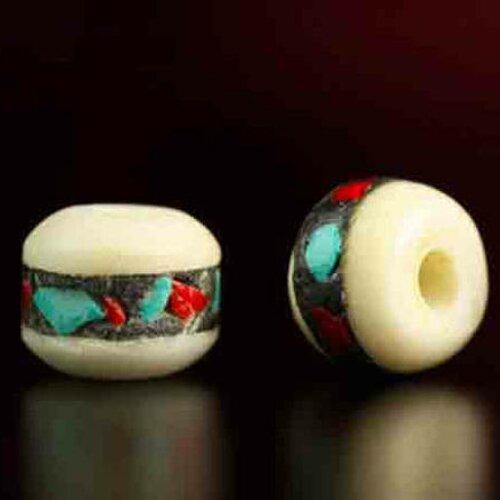 Perle mala en os de yak blanche pour médiation et prière,8 mm,lot de 5 pcs