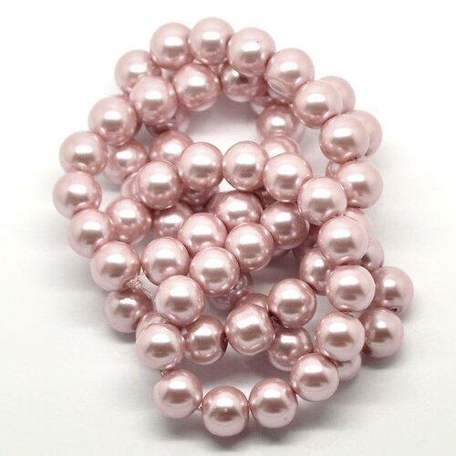 Perle de verre rose tendre,rond,12 mm,lot de 10 perles